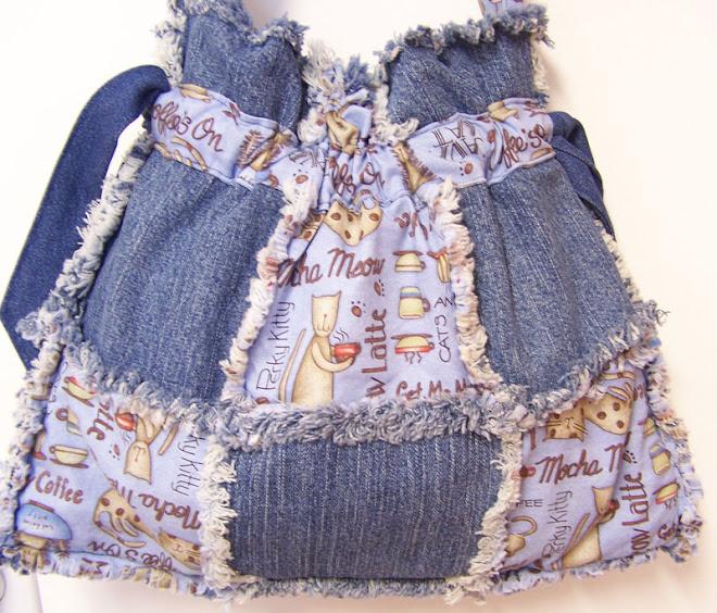 Coffee Cat Lover Drawstring Denim Tote Bag Purse Handbag