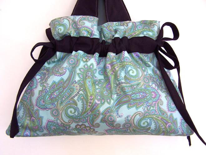 Handmade Drawstring Handbag Purse Plum Purple Paislies