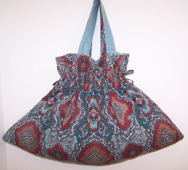 Darling Handmade Drawstring Handbag Purse Turquoise Aqua Colors
