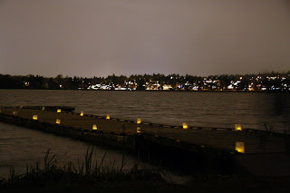 """Even Docks Get Decorated during the """"Pathway of Lights"""" event in Green Lake, Seattle."""