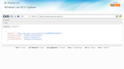 Windows Live REST Explorer 5