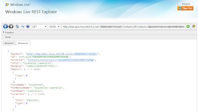 Windows Live REST Explorer 7
