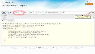 Windows Live REST Explorer 9