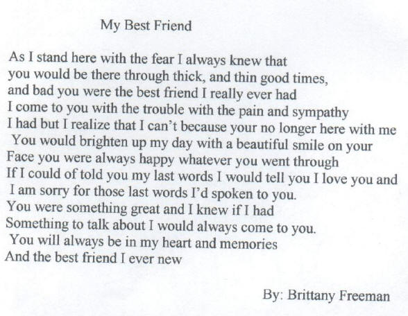 Poems For my Bestest Friend my Best Friend Poems