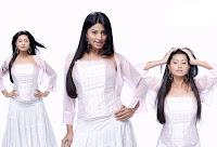 Actress Sneha Wearing White dress with 3 styles free photos
