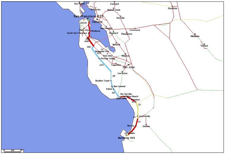 de Monterey, CA 053 à San Francisco, CA 075 / Distance: 180,60 km