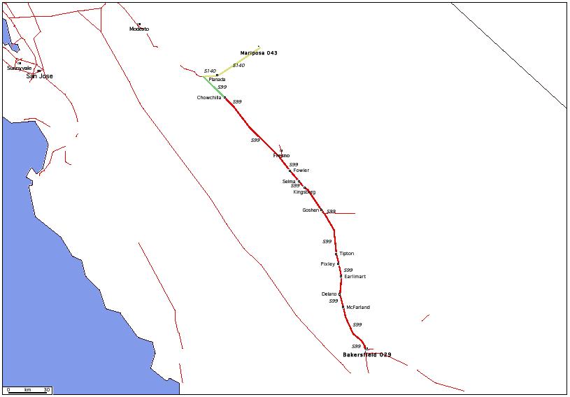 de Mariposa, CA 043 à Bakersfield, CA 029 / Distance: 318,30 km