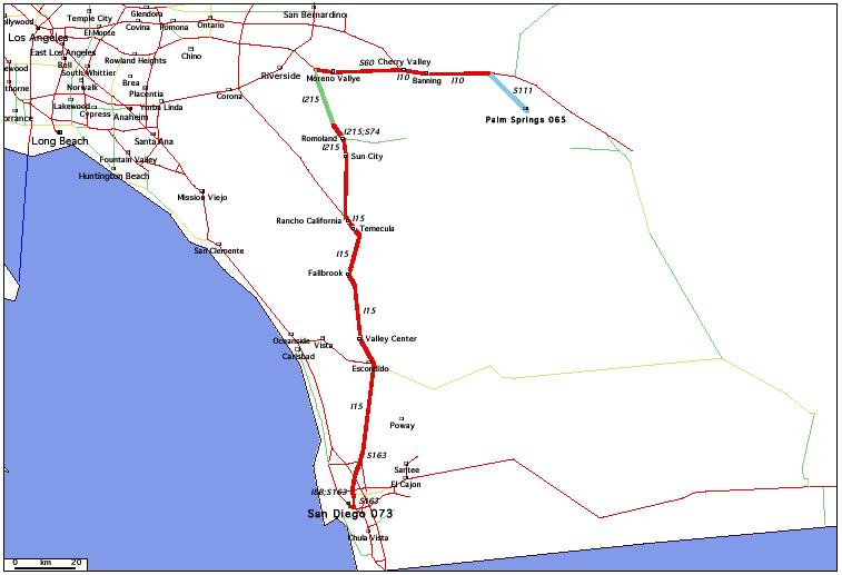 de Palm Springs, CA 065 à San Diego, CA 073 / Distance: 223,60 km