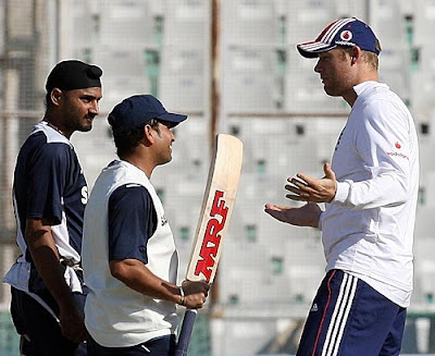Harbhajan Singh and Sachin Tendulkar in conversation with Andrew Flintoff, Mohali,