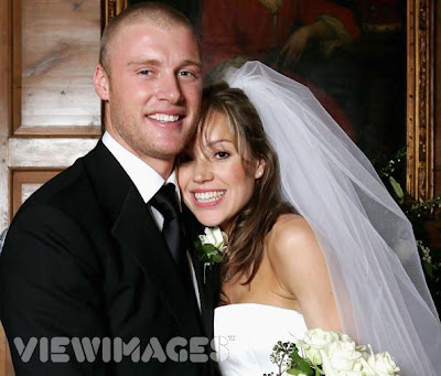 Andrew Flintoff and Rachael Wools