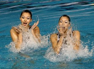 Synchronized swimming twin sisters wenwen Jiang and qinqin Jiang, China