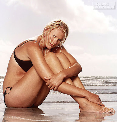 Hot Lauren Jackson with wet bikini in beach