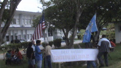 protest infront of the governor's office