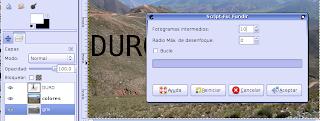 Cuadro de dialogo de Fusion, configurado en Fotogramas intermedios: 10. Sin tilde en Bucles. Se observa la ubicacion de las capas