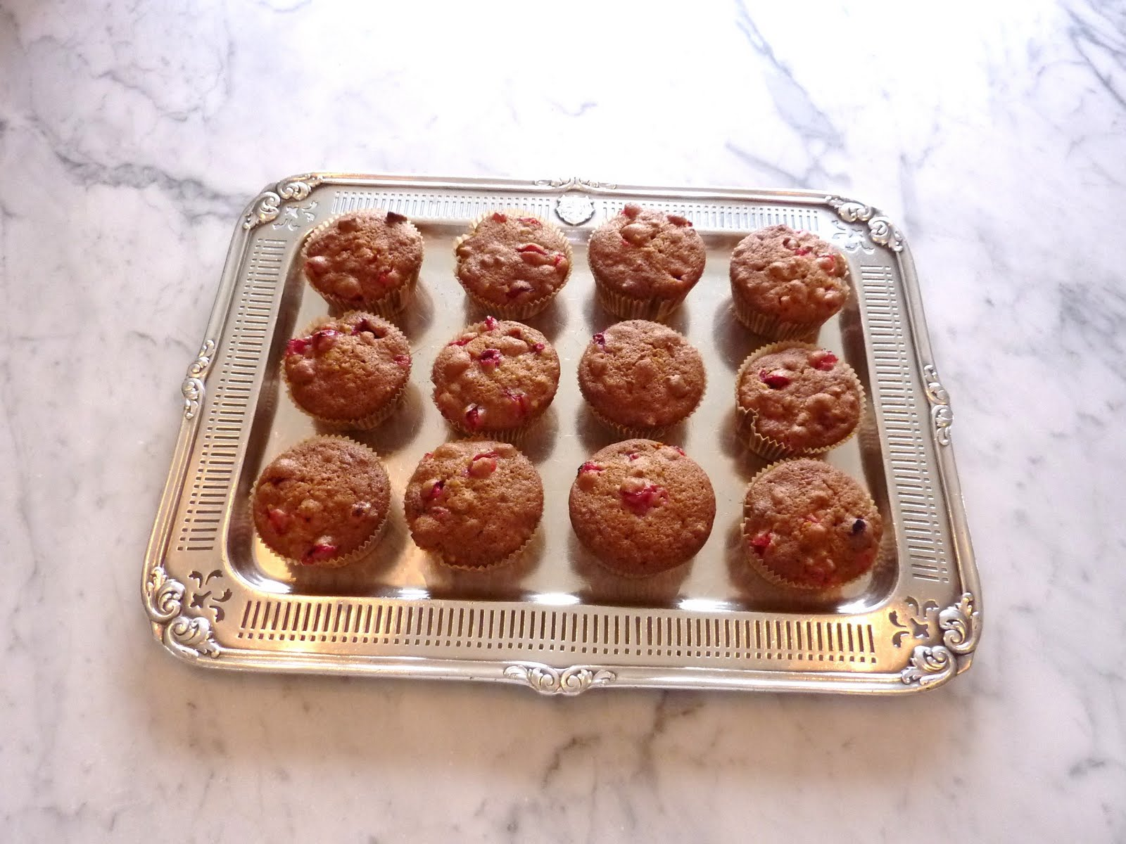 muffins on vintage hotel silver tray from the Belmont New York