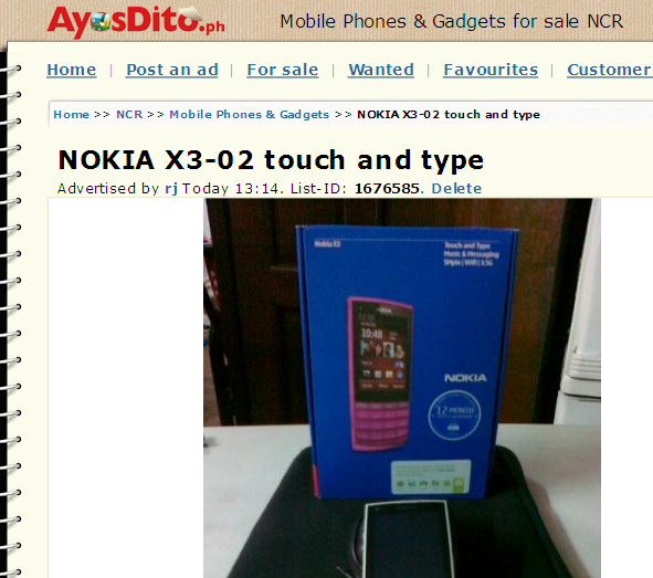 Nokia X3-02 Touch and Type ad on AyosDito.PH