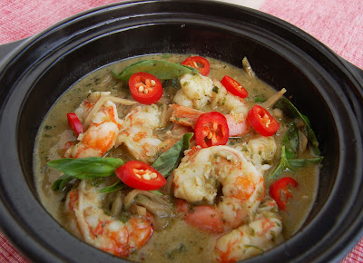 Curry verde de gambas