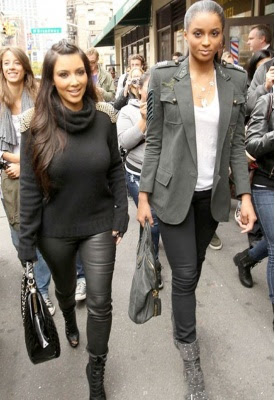 Kardashian Leggings on Kim Kardashian Current Elliot Leggings In Black Leather With Side