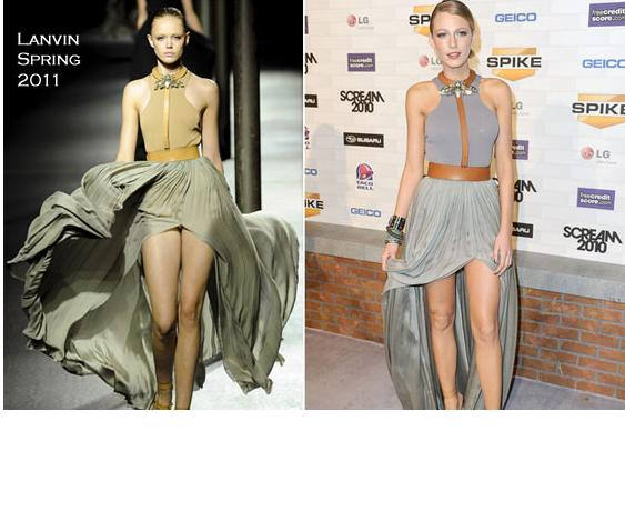 Blake Lively wore this amazing Lanvin knit dress to the Scream Awards in