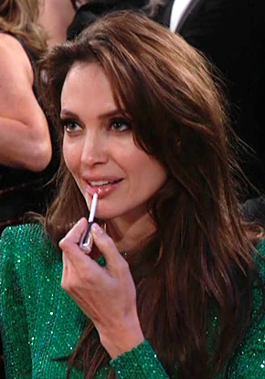 Angelina Jolie wore Chantecaille lip gloss at the Golden Globes.