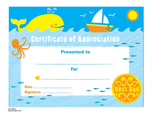 certificates and cards for your kids to personalize and give to Dad!