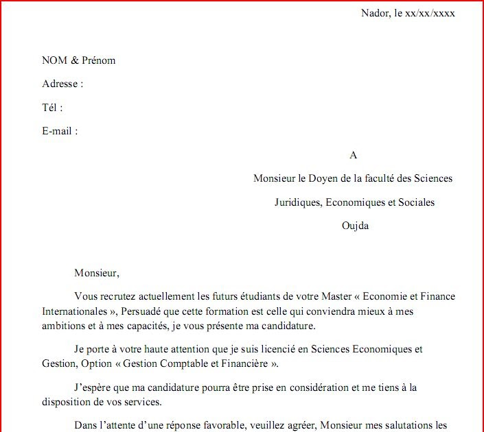 maache  exemple d u0026 39 une lettre de demande d u0026 39 inscription en master