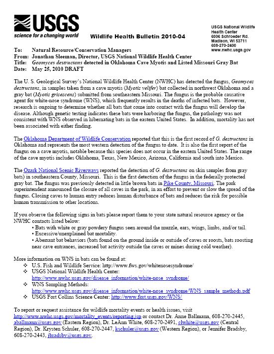 wildlife disease news digest may 2010