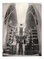 Frank Dyson taking a reading using the Altazimuth telescope © NMM