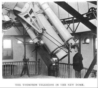 The 26-inch Thompson telescope, with Christie, in the dome of the New Physical Observatory. Image from E. Walter Maunder's 'Royal Observatory, Greenwich: a Glance at its History and Work' (1900)