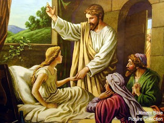 Jesus Christ painting miracle of healing Jairus daughter from sick free religious pictures and bible images download
