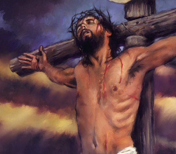 Drawing Art Image Of Jesus Christ Crucifixion With Crown Thorns On The Cross Download Free
