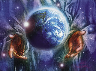Beautiful image of Christ holding the earth(Globe) in his hands photo download religious images and Christian clipart pictures for free