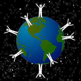 Raised hands worshiping lord on the Earth in the universe background picture