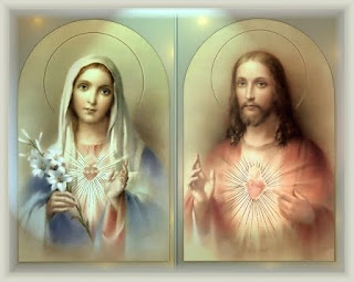 Beautiful drawing art photo of sacred heart of Jesus Christ and immaculate heart of Mary