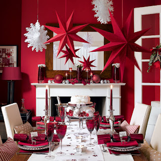 In house Christmas decoration ideas picture with red Christmas stars and red baubles in the dining hall download free Christmas clip art images and Jesus background photos for free