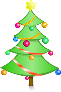 Clip art of Beautiful decorated Xmas(Christmas) tree drawing with Christmas baubles and star