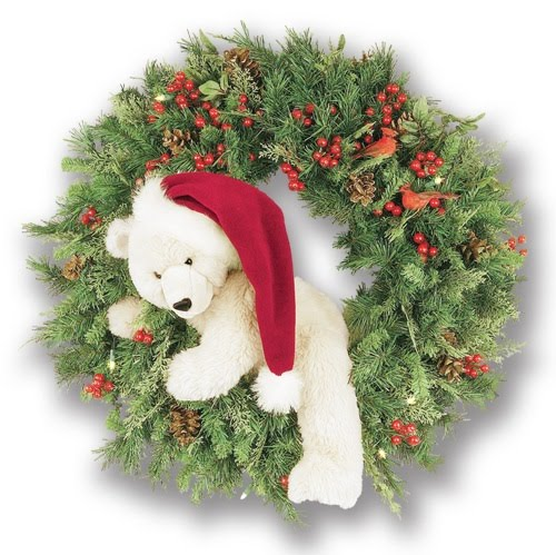 Decorated Christmas Wreath With Beautiful And Cute Teddy As Santa