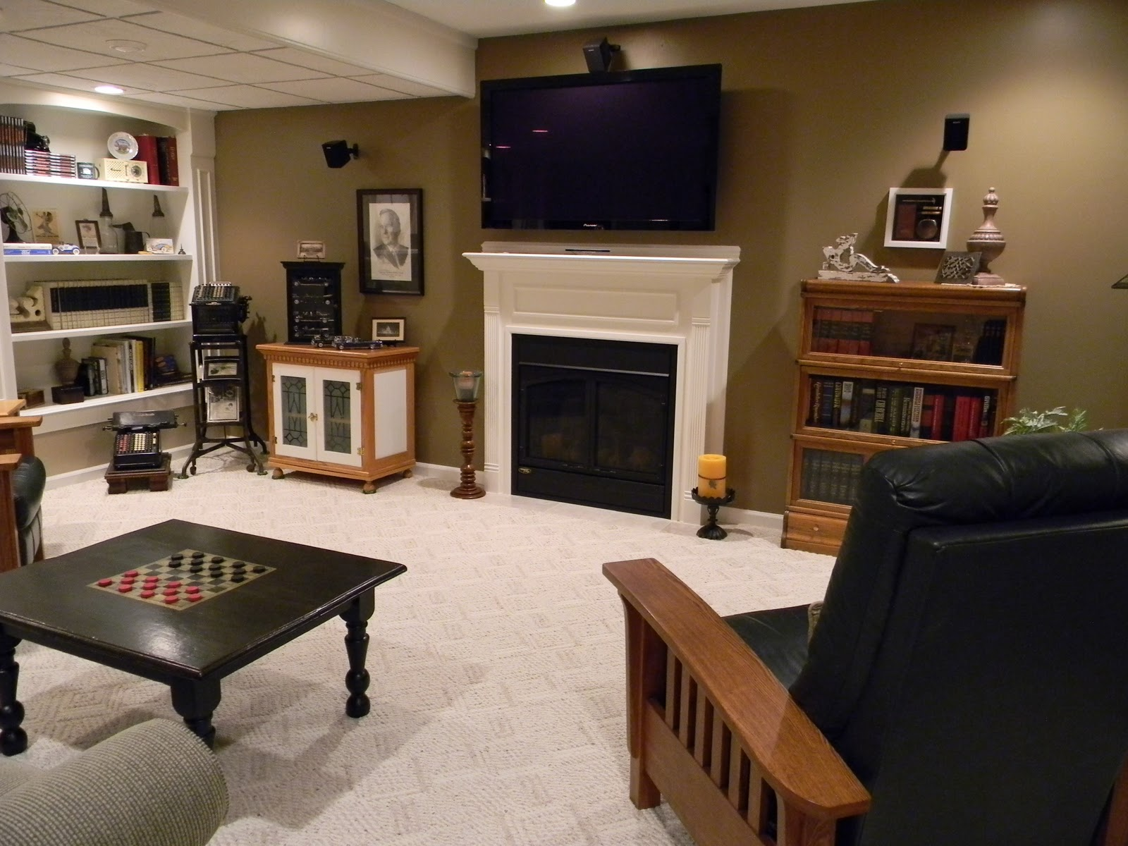 Man Cave With Fireplace : Forever decorating media room man cave house tour