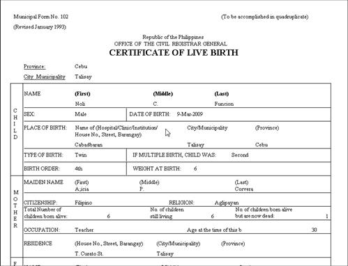 Programming Projects Birth Registration System Using Visual Basic – Birth Certificate Sample