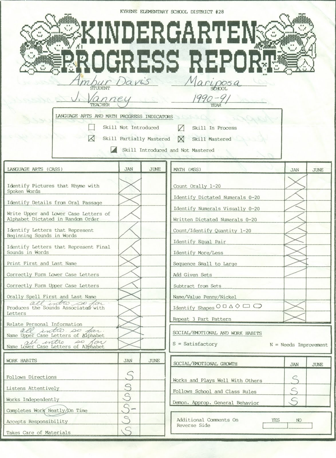 A Gift From Heaven: 1990 Skills Report Card and Progress