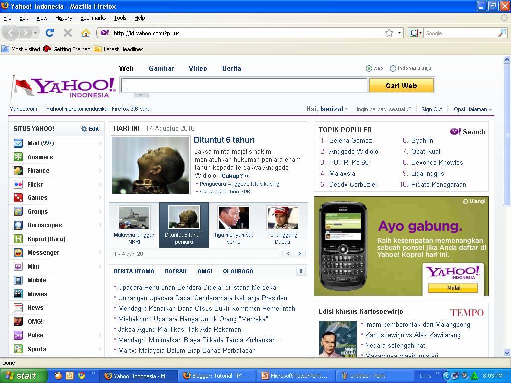 Yahoo juga memiliki dua kriteria pencarian yaitu pencarin situs dari