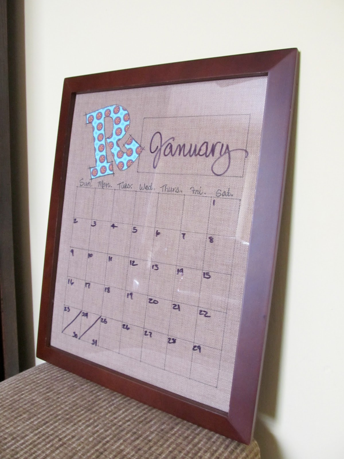 Calendar Wall Art : Cottage hill dry erase calendar wall art