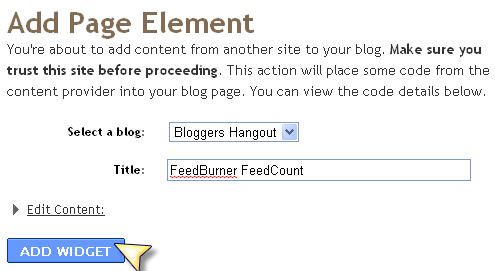 Adding FeedCount to Page Elements