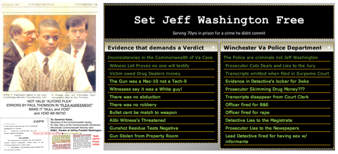 Washington Falsely Jailed by Winchester Court Corruption