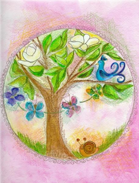 Mandala au magnolier et merlebleu et danse des papillons Mps