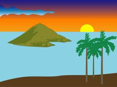 Island and palms