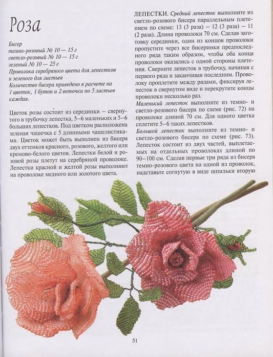 роза из бисера схема - Схемы.