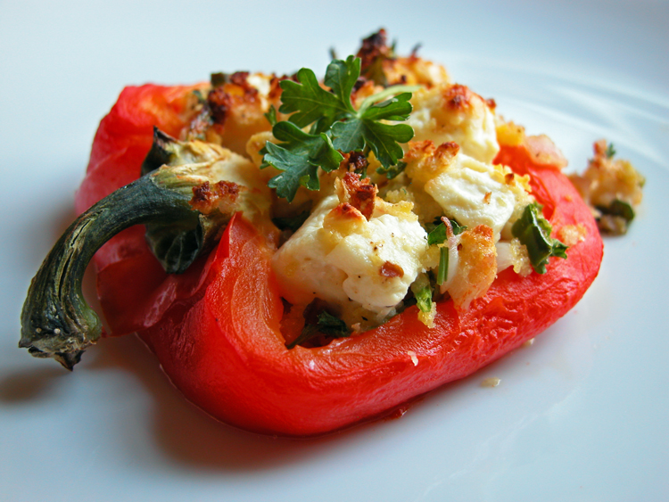 Cooking Weekends: Roasted Bell Peppers Stuffed with Feta Cheese