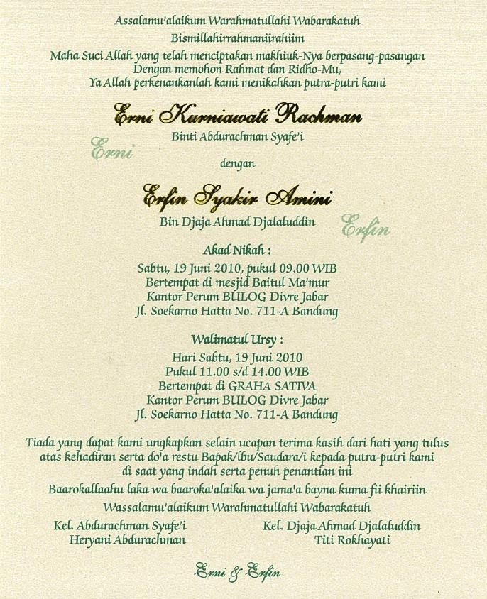 undangan pernikahan Erni & Erfin