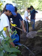 Alumnos de 8° año en el taller de mantenimiento de espacios verdes y jardines